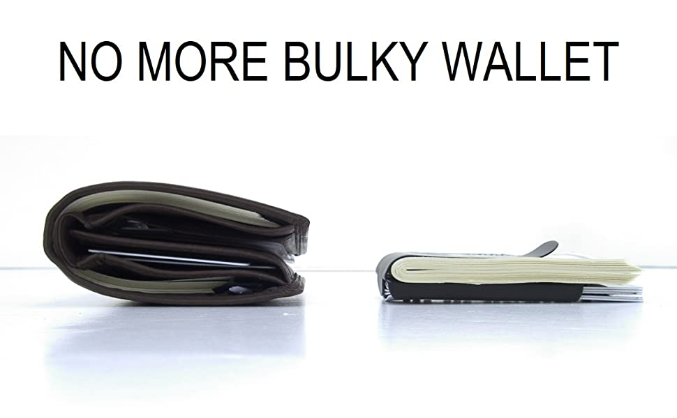 Storus Smart Money Clip next to a big fat bulky leather wallet