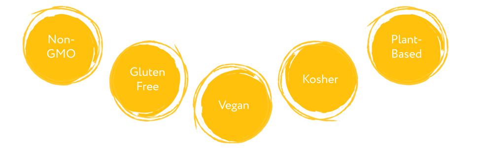 NON-GMO, GLUTEN-FREE, VEGAN, KOSHER, PLANT BASED