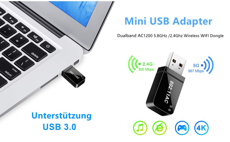 TP-Link AC1200 Dual Band WLAN Adapter 867Mbit/s , 400Mbit/s 802.11ac, USB 3.0,  WLAN Adapter