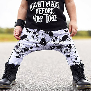 Toddler Baby Boy Clothes 2PCs Outfit Set Nightmare Printing Long Sleeve and Skull Pants Clothing