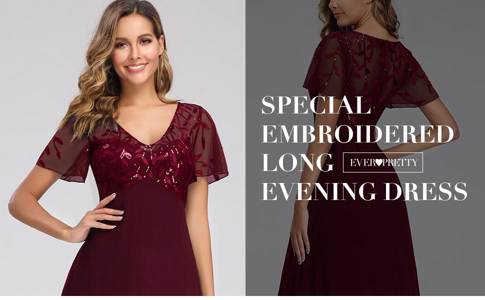 Ever Pretty A-line Bugundy Formal Dress Evening Dress Chiffon Bridesmaid Dress Maxi Party Gown