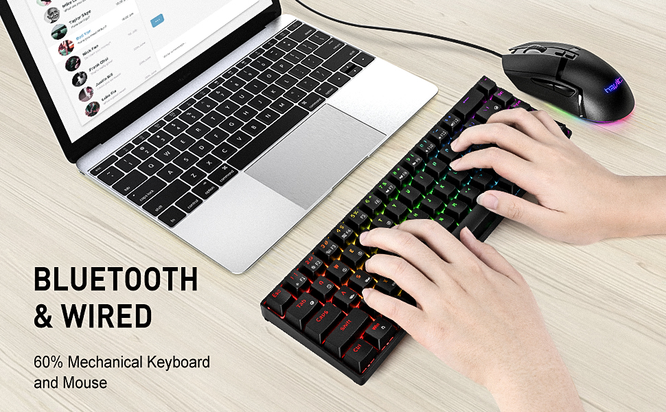 60% wireless keyboard and gaming mouse