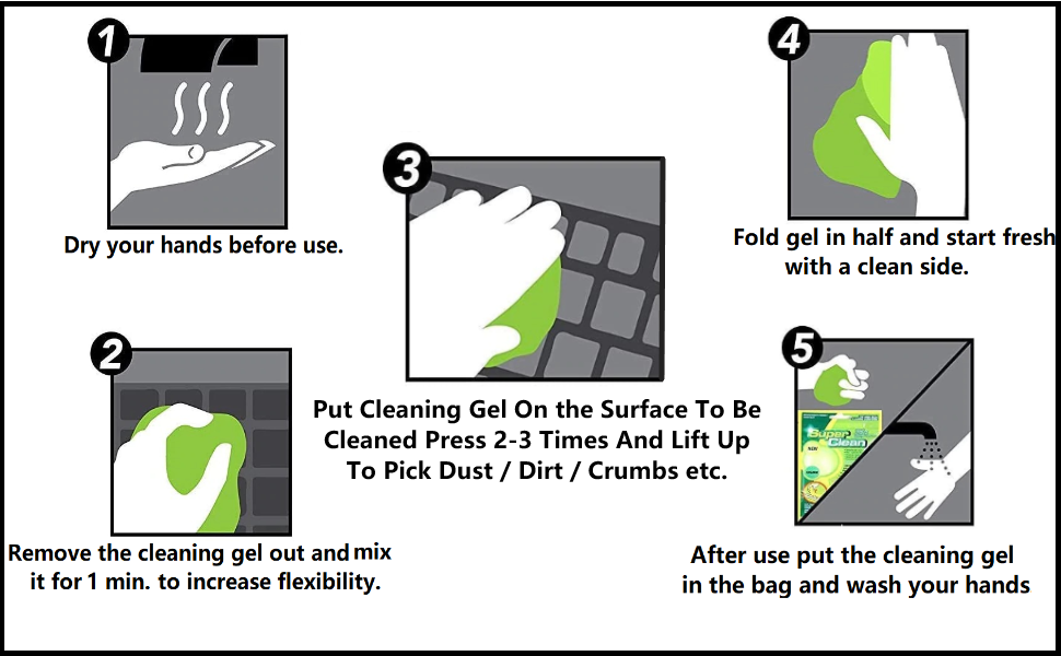 Multipurpose Reusable PC Computer Laptop Keyboard Dust Dirt Cleaning Cleaner Gel jelly putty Kit