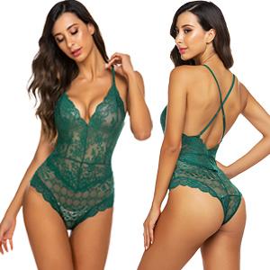 green lingerie bodysuit