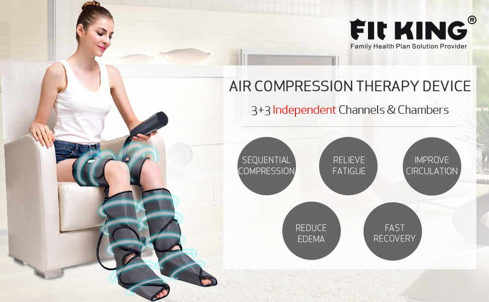 FIT KING Air Compression Leg and Foot Massager for Circulation & Pain Relief