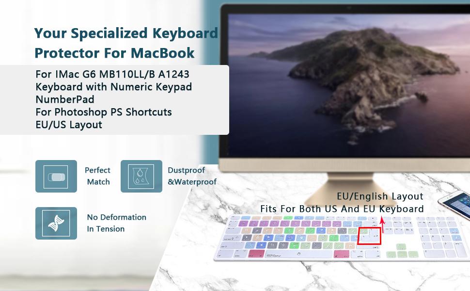 MMDW Photoshop PS atajos extendidos diseño teclado de silicona cubierta protectora para Apple iMac G6 teclado con cable de aluminio MB110B/B (A1243) ...