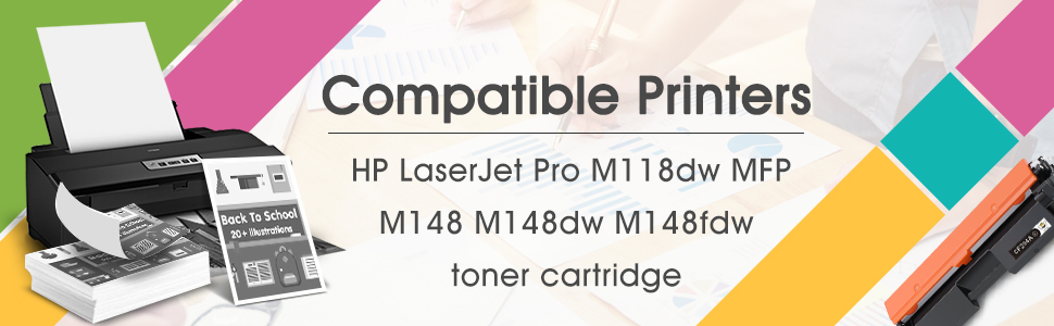 Worked in HP Laserjet M148 Laserjet M118 Printer 1,200 Pages BAISINE Compatible M118dw Toner Cartridge Replacement for HP CF294A 94A Black, 1 Pack