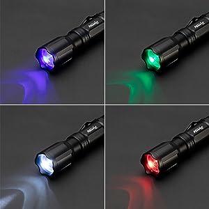 Alonefire X004 Linterna LED Colores RGB Blanco/Rojo/Verde/Azul Recargable Tactica Alta Potencia Impermeable Ampliable con 18650 Batería Incluida, ...