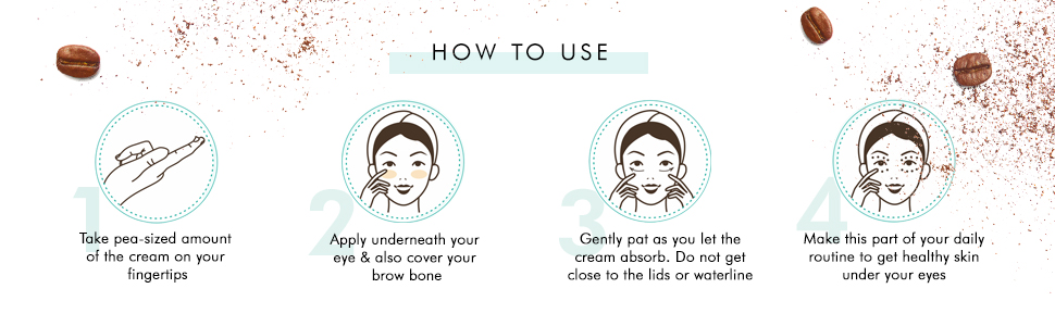 take a pea sized on finger gently dab under the eye use twice daily