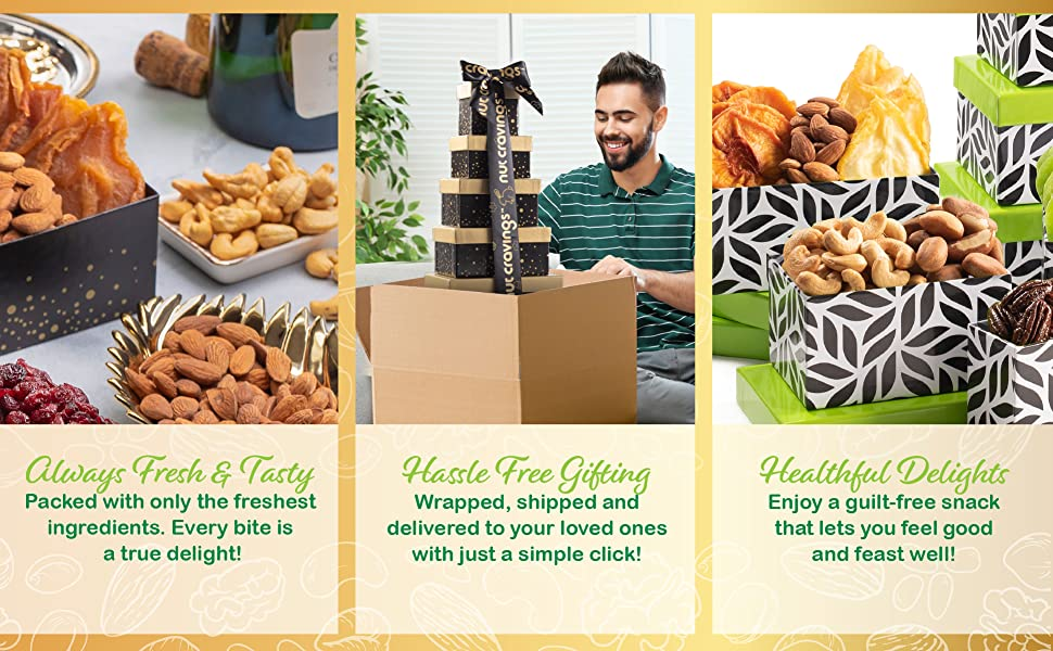 nut cravings tower gift basket - nuttin' says yum better