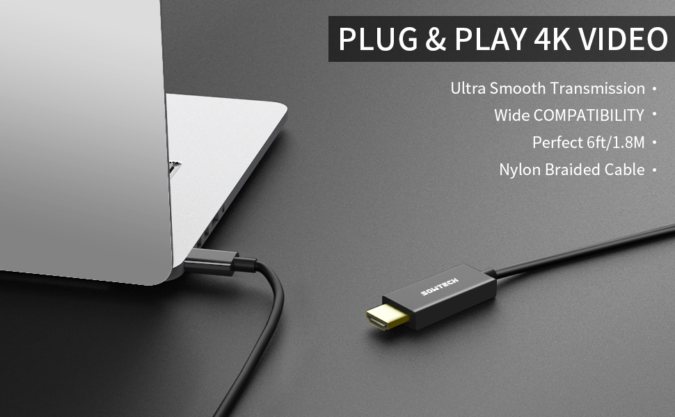 USB C to HDMI Cable 4K Adapter