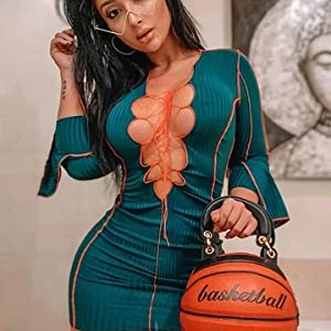 Womens Sexy Lace Up Bodycon Dress Patchwork Ribbed Knit Long Sleeve Mini Dresses Hollow Out Bandage