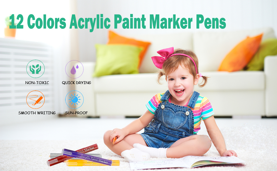 12 colors acrylic paint marker pens