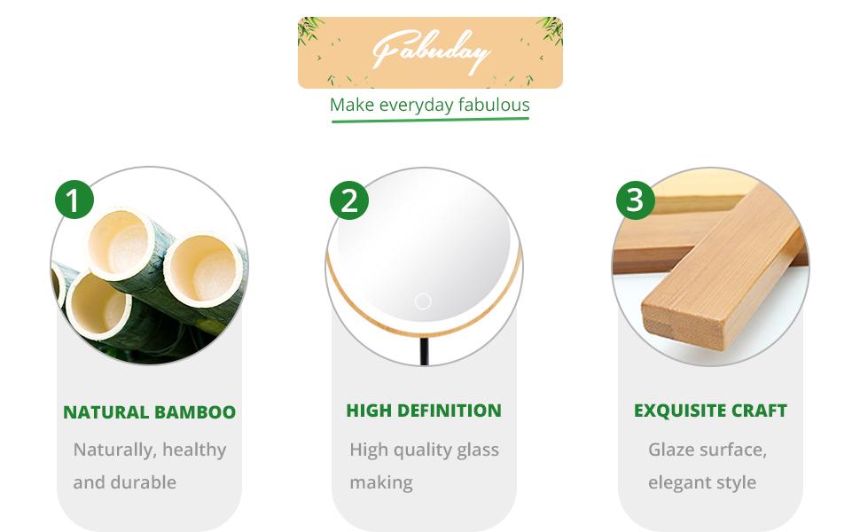 round bamboo makeup mirror