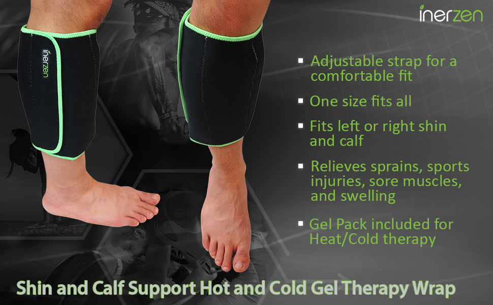 inerzen hot cold therapy calf shin support wrap unisex left right leg pain relief aid heat ice pack