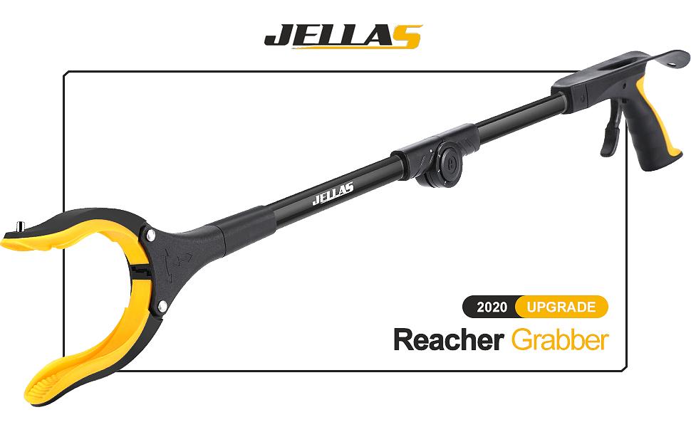 gelb Abfallsammlung 0/°- 180/° abgewinkelter Arm Jellas Faltbare Greifer 80cm Langer Greif-Werkzeug mit Magnetspitzen f/ür die M/üllabfuhr Armverl/ängerung 90/° drehbarer Kopf