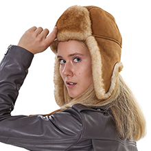 Shearling hat for women