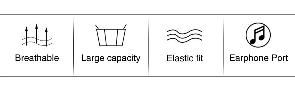 Breathable Large capacity Elastic fit Earphone Port