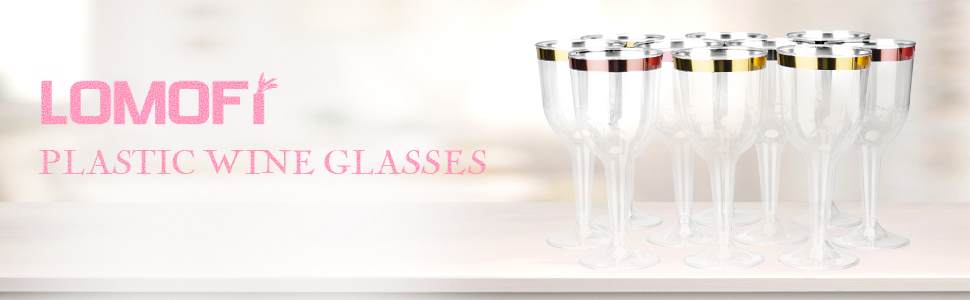 100 Disposable Plastic Wine Glasses