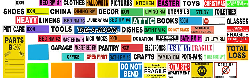 color-coded moving box label stickers home house apartment