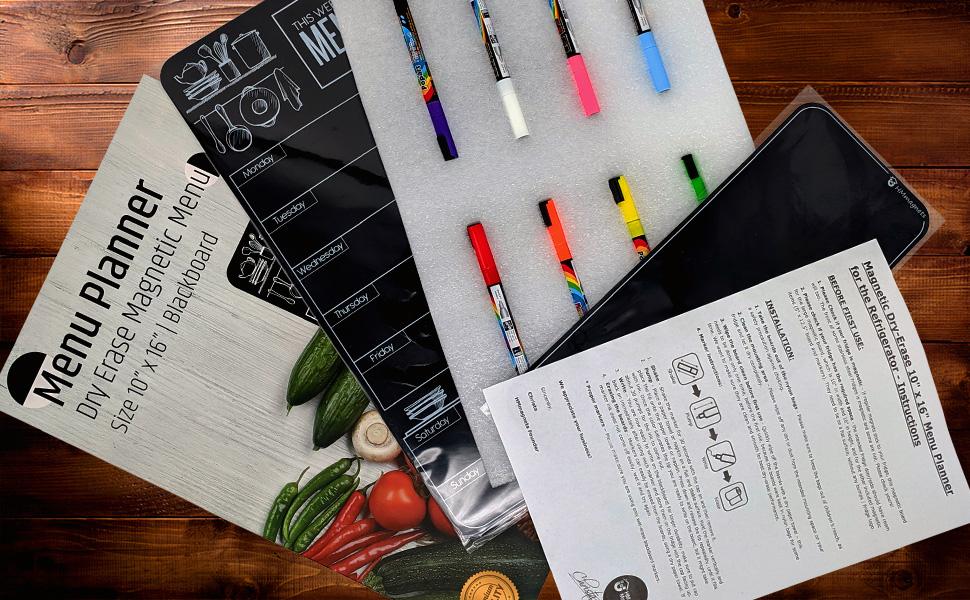 Dry Erase Weekly Menu Blackboard for Fridge