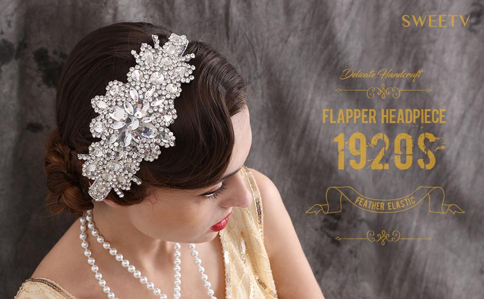 SWEETV Sliver/ Black Rhinestone Flapper Headband
