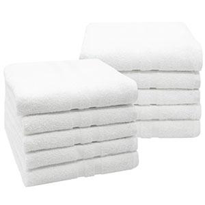 ZOLLNER 10 Toallas de Lavabo Blancas Grandes, Rizo de algodón 100 ...