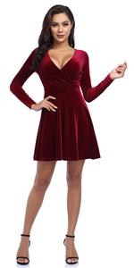 women v-neck velvet mini dress