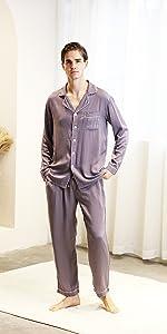 YIMANIE Mens Pajamas Set Soft Cotton Knit Long Sleeves and Pajamas pants Classic Sleepwear Lounge Set