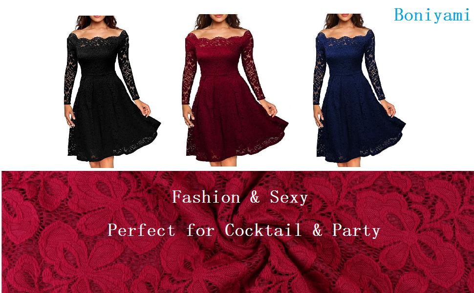 Boniyami Women cocktail party sexy lace dress