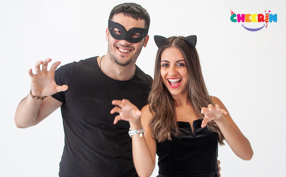 cat costume, couple halloween cat costume, couple party accessories, party favors for black cat