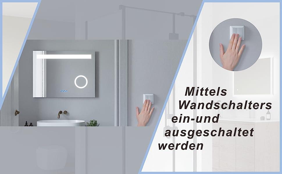 Badezimmerspiegel mit LED Licht Kosmetikspiegel 80x60cm DALES Typ C