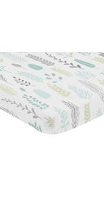 Blue Grey Tropical Leaf Unisex Baby Nursery Fitted Mini Portable Crib Sheet Mini Crib, Pack and Play