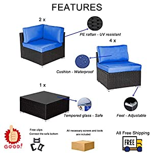 Patio Furniture Sofa Outside Couch PE Black Wicker 7pcs Garden Sectional Rattan Sofa Set Conversation Sets Party Sofa Royal Blue Cushion