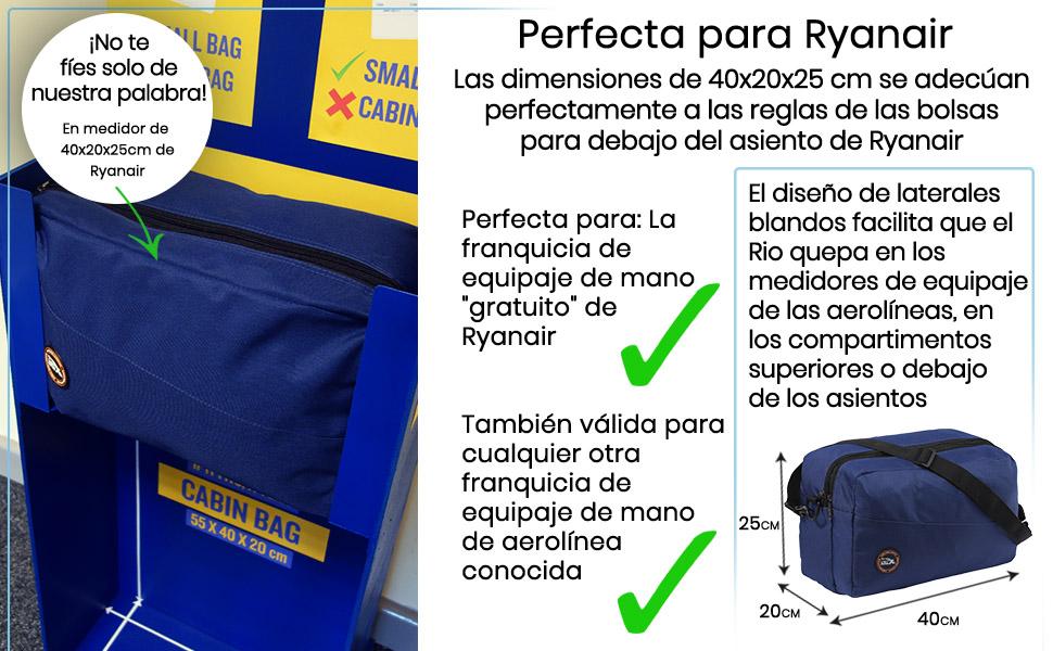 Cabin Max Rio Stowaway – Bolsa de Hombro de 40x25x20cm - Maleta de Cabina Segundo Equipaje para Vuelos en Ryanair (Marino)