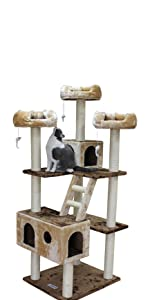 CozyCatFurniture Tall Cat Tree Scratching Post 73 inch with 3 Perches