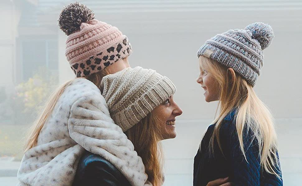 mother daughter family beanie childrens pom pompom beanie hat with ball on top