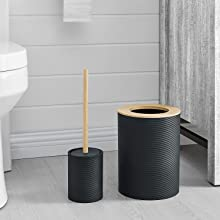 RIBBED STYLE BIN AND TOILET BRUSH HOLDER