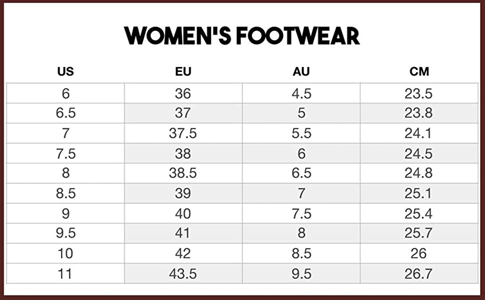 Women's size chart to help with sizing boots and measurements