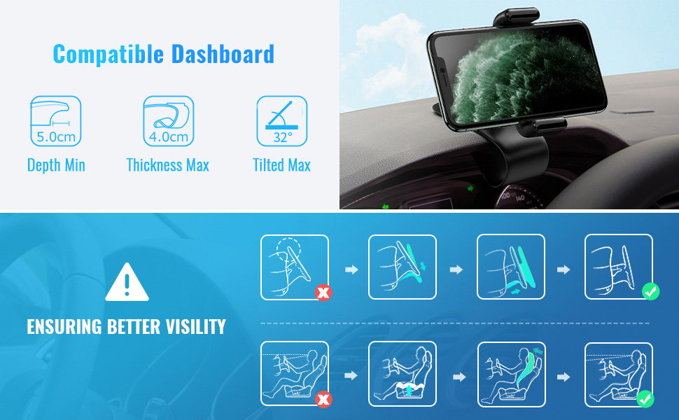 car phone clip holder for dashboard hud