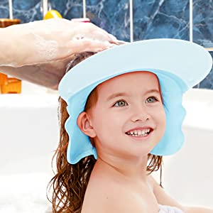 As the wide peak protects eyes from the discomfort of shampoo suds, making bath time stress-free