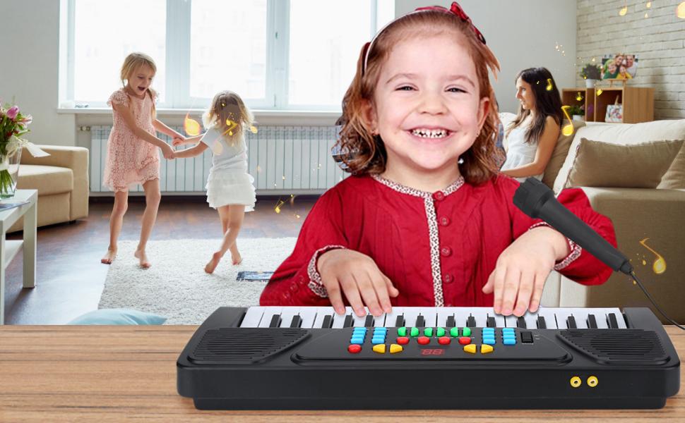 Dilwe Multifuncional Piano Electronico de 37 Teclas Juguete Educativo Musical con Microfono para Ninos Principiantes