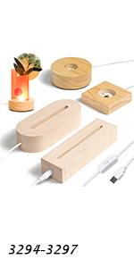 Wood LED Light Base Set