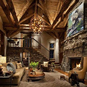 lady bug heaven living room staging home decor rustic fireplace