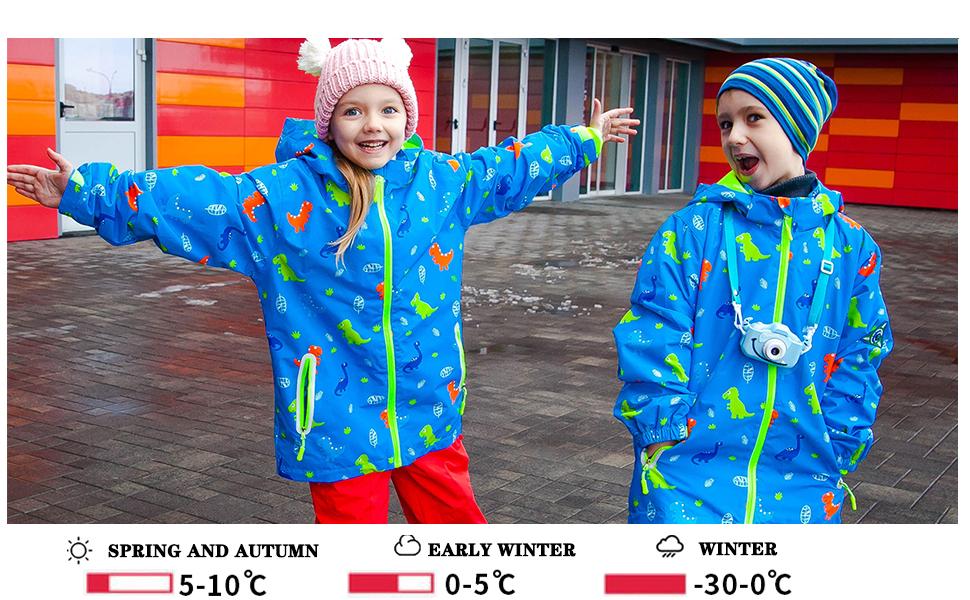 HZXVic Toddler Dinosaur Jacket for boys,Girls Rain Jacket Windbreakers,Raincoats for Kids Waterproof with Hood
