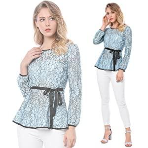 Allegra K Blusa Peplum De Encaje Bicolor con Contraste Cintura Autoajustable para Mujer