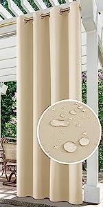 HOMEIDEAS Waterproof Outdoor Curtains
