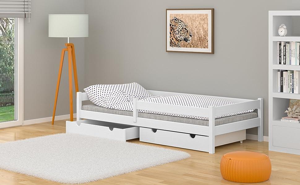 WNM Group Lara - Cama individual de madera maciza con cajones y somier (90 x 180 cm), color blanco