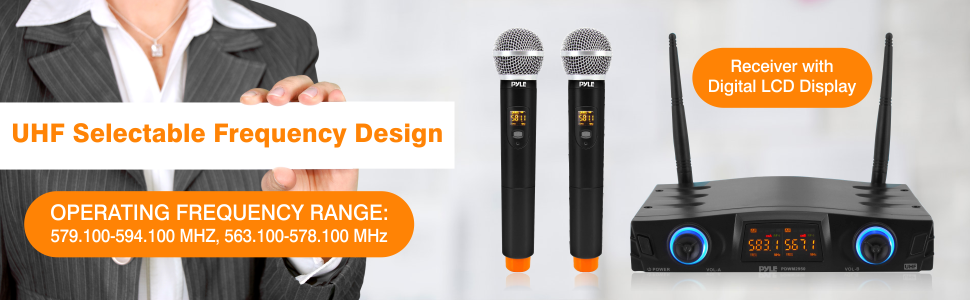 compact UHF wireless microphone system footer banner