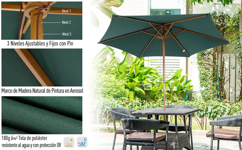 Outsunny Sombrilla Parasol para Terraza Playa Jardín Piscina Patio Camping - Color Verde - Poliéster Madera - 250x230 cm: Amazon.es: Jardín